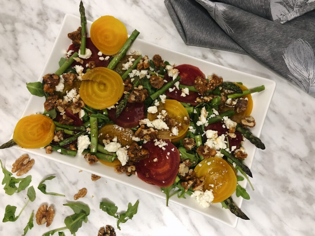 Beet and asparagus salad